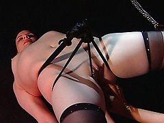 Симпатичную девку связали и подвесили для пыток